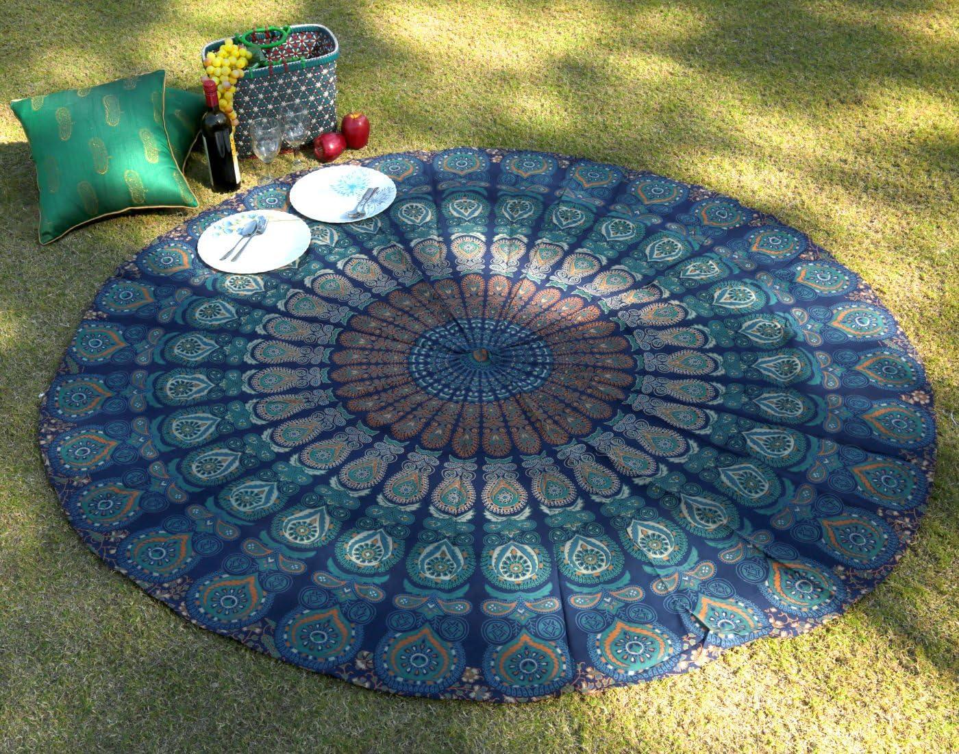 "RAJRANG BRINGING RAJASTHAN TO YOU Mandala Round Tapestry - Hippie Boho Home Decor Cotton Tablecloth Picnic Camping Beach Throw Roundie Towel - Blue - 72"""