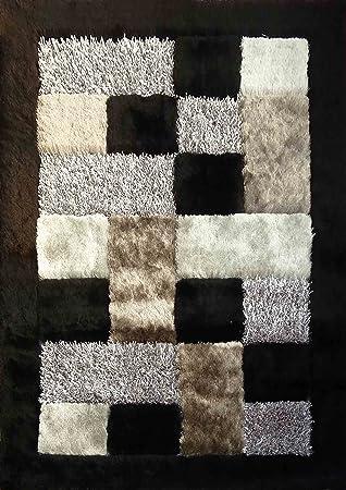 Alfombra Color Blanco con Negro combination hecha a mano estilo moderno suave y lujosa , gruesa