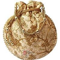 Milan's Creation: Designer Potli Golden Embroidery Bag Pearl Handle & Tassel Ethnic Purse Women's Handbag