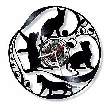 Gatos Pared Vinilo reloj - hecho a mano gatos adorno decoración y idea de regalo para cualquier ocasión: Amazon.es: Hogar