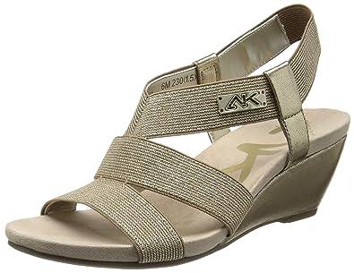 Anne Klein Sport Women's Cuinn Wedge Sandal,Gold/Gold,5 ...