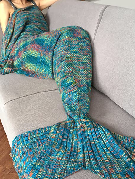 Iefiel Adult Knitted Mermaid Tail Blanket Handmade Soft Living Room