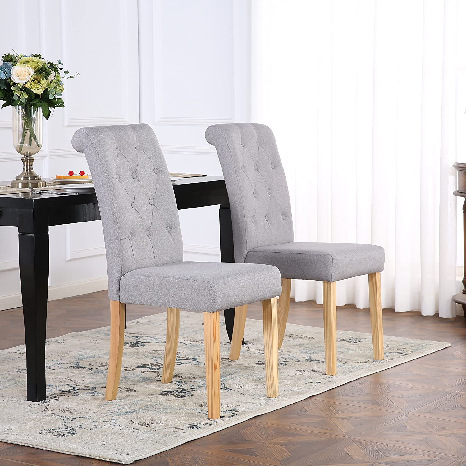 Set Of 4 Premium Linen Fabric Dining Chairs Scroll High Back Light Grey Amazon Co Uk Kitchen Home