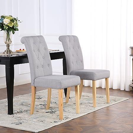 Lot de 6 Chaises de salle à manger à dossier matelassé à boutons, lin gris clair