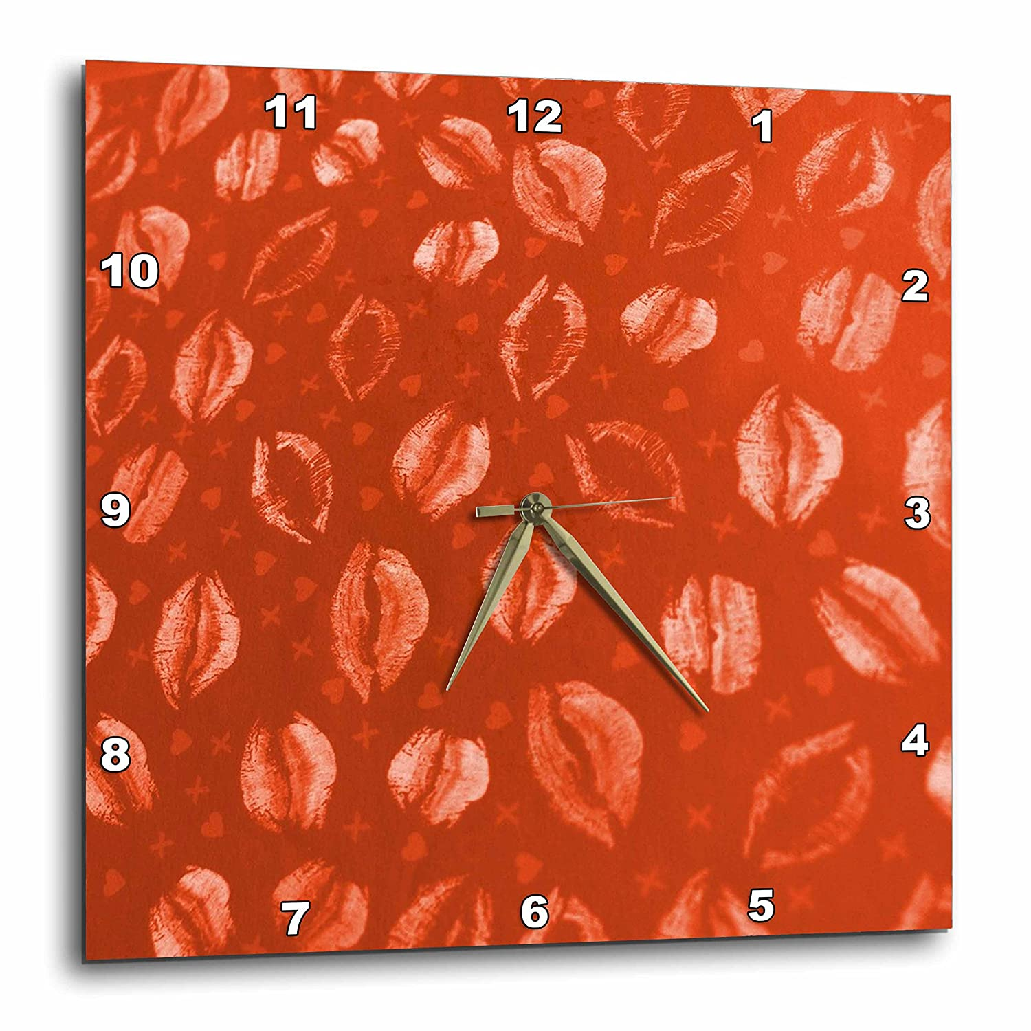 10 by 10-Inch 3dRose dpp/_23127/_1 Red Lips Wall Clock