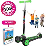 """Scooter For Kids, Maxi Foldable Kick Scooter Deluxe, handlebars adjustable age 5-12, Surface Balance Technology 2""""widthX3 Wheels 24 Months Guarantee eBookGift Talented Kids Secrets"""