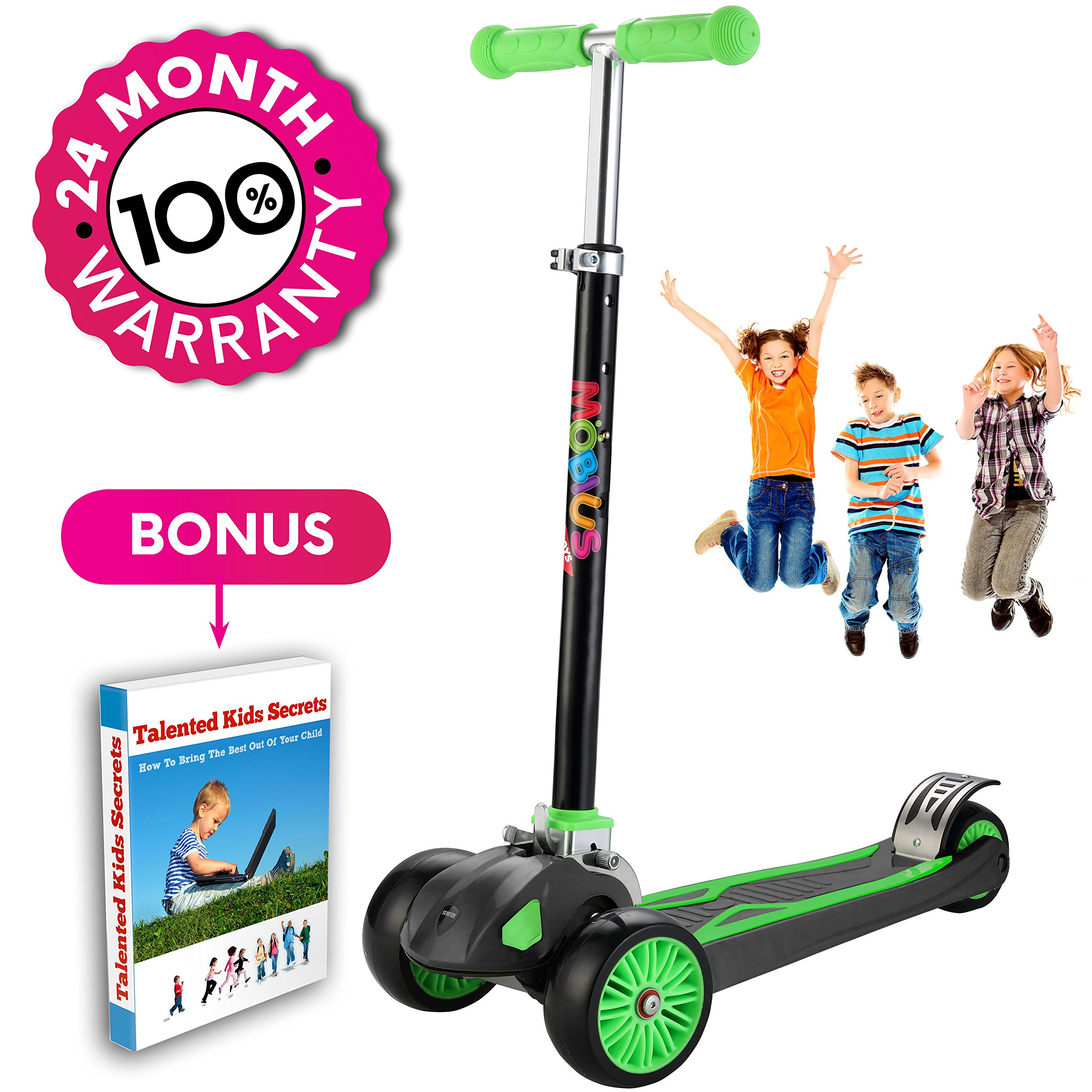 Scooter For Kids, Maxi Foldable Kick Scooter Deluxe, handlebars adjustability from age 5-12, Surface-safety Balance Technology, 2''widthX3 Wheels, 24 Months Guarantee, eBookGift ''Talented Kids Secrets'' by Mobius Toys