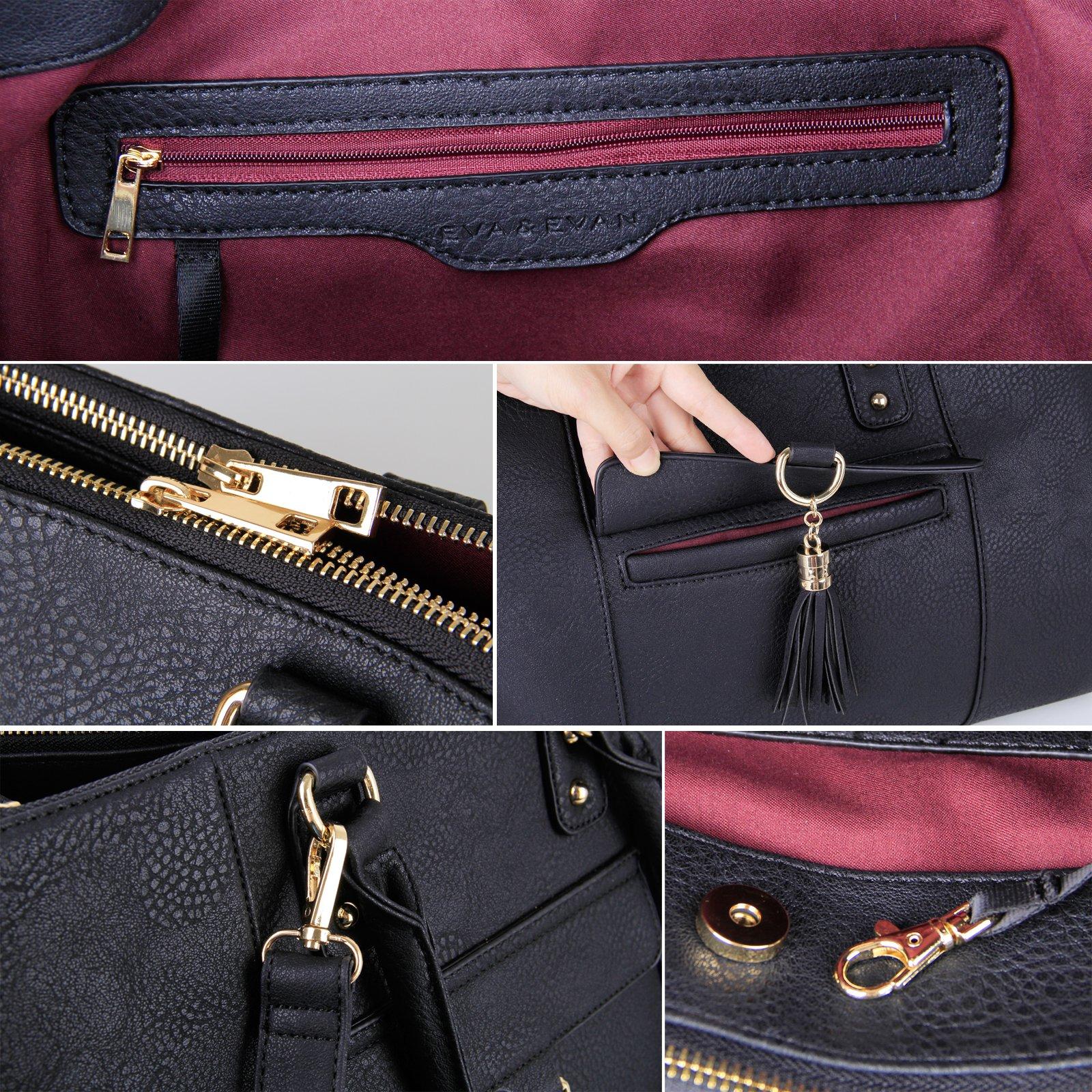 Eva & Evan 2018 New Women Satchel Handbags Shoulder Bag with Tassels Top Handle Large PU Leather Adjustable Strap Black by BAYTTER (Image #6)