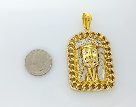 c52c49a32 18k Gold Plated Large Jesus Pendant Stainless Steel Necklace with 30
