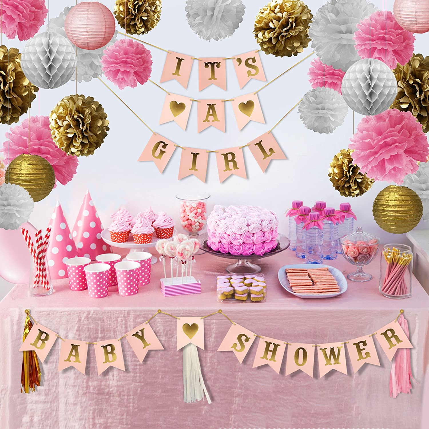 Amazon.com: Pink and Gold Baby Shower Decorations Kit | Extra Large 30pcs  Set | It's A Girl | Pink Gold White | Hanging Party Decorations | Best for  Your ...