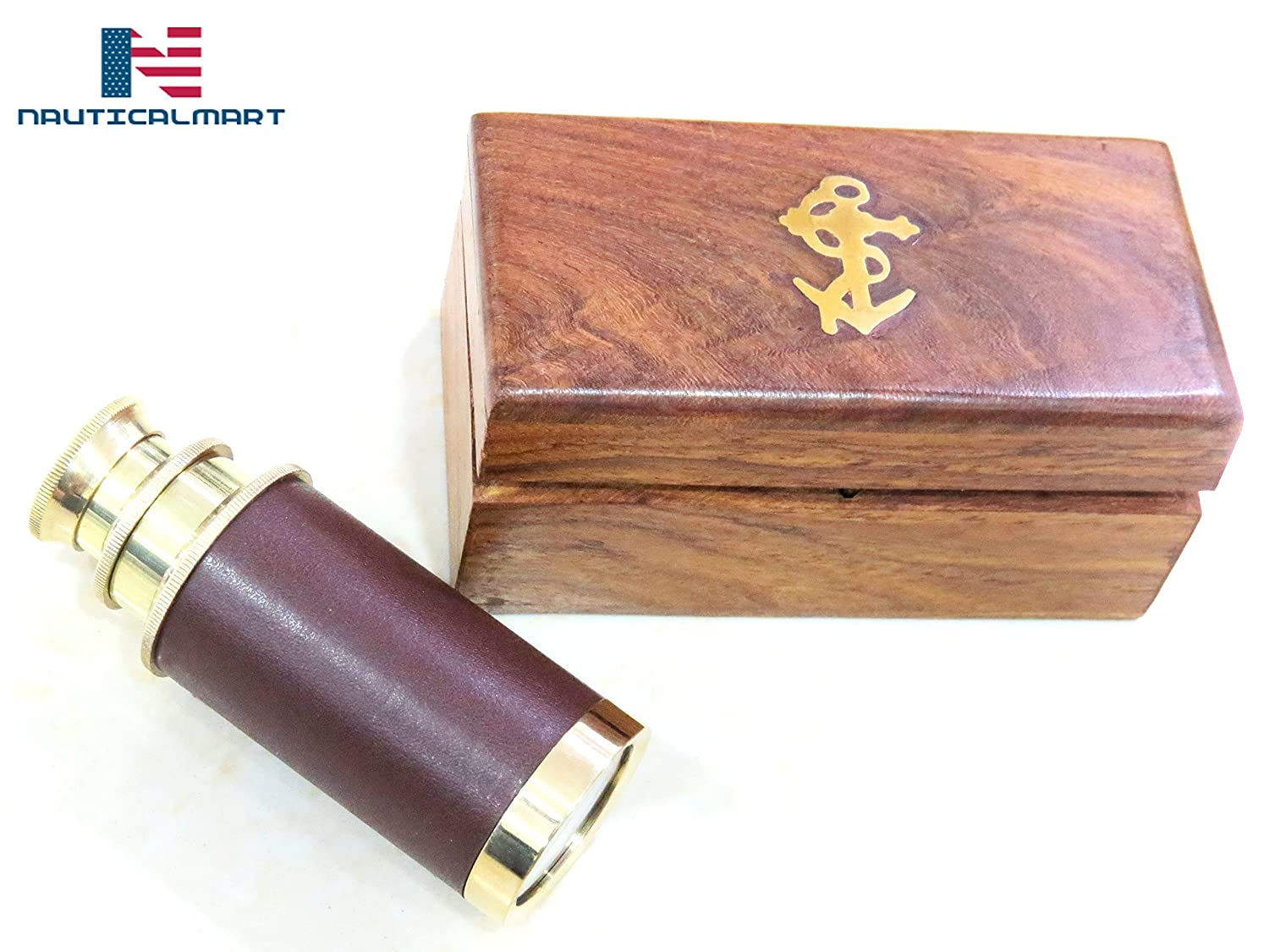 Antique Leather Bound Brass Telescope 6 w//Wooden Box