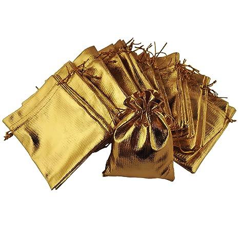 f15ab2375 100 pequeños, color dorado brillante joyas bolsa – Tamaño: Aprox. 12 x 9