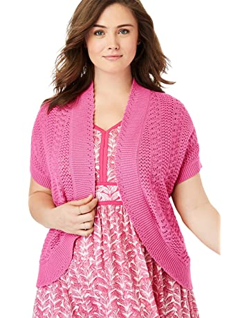 d7fa090a714 Woman Within Women s Plus Size Pointelle Knit Shrug