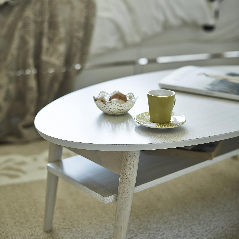 棚付折れ脚テーブル 【直送】 (ホワイト) 幅90 オーバル 楕円形 ローテーブル 折りたたみ 折れ脚 木製 完成品 B075ZRRFPS  ホワイト