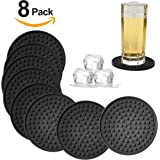Silicone Drink Coasters Set of 8-Deep Tray,Large 4.3 inches Size Protect Table Desk From Drinks, Beverage,Water or Alcohol Like Whiskey, Beer, Wine,Tropical Cocktails by Kindga (Black-Heart)