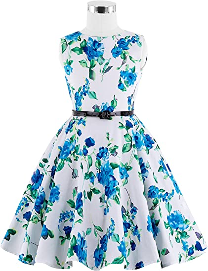 Girls Sleeveless Vintage Print Swing Party Dress
