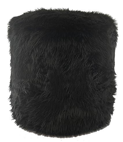 Amazon Metje Faux Fur PoufOttoman 40Dia X 40H Black Home Amazing Faux Fur Pouf Ottoman