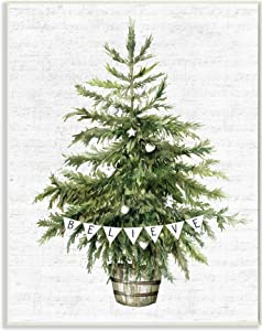 Stupell Industries Holiday Green Fir Tree with Believe Phrase, Design by Lettered and Lined Wall Plaque, 13 x 19, Off-White
