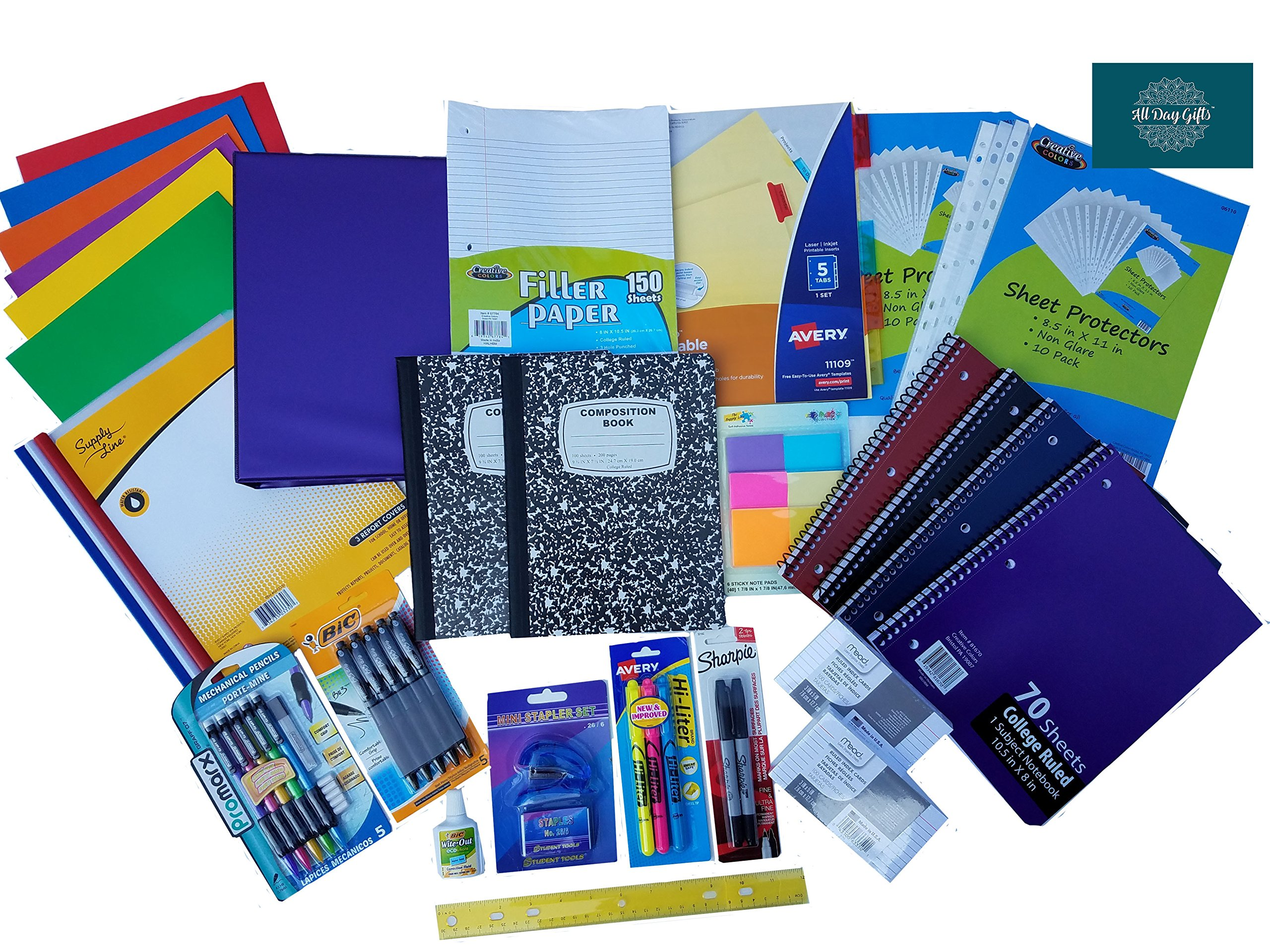 Over 55 Count School Supply Bundle by All Day Gifts, for Middle, High School and College - Binder, Mechanical Pencils, Sharpie, Pens, Hi-liters, Folders, Note Books Plus More (College Ruled)