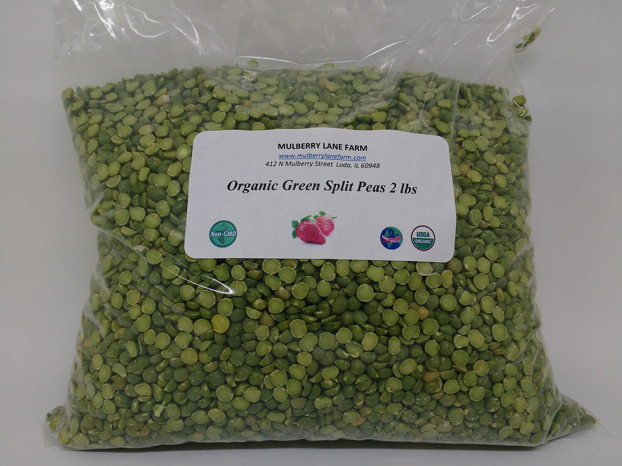 Green Split Peas 2 lbs (two pounds) USDA Certified Organic, Non-GMO, BULK