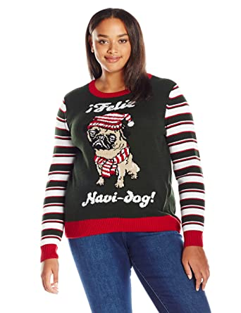 Plus Size Ugly Christmas Sweater.Ugly Christmas Sweater Juniors Plus Size Feliz Navi Dog Pug Pullover