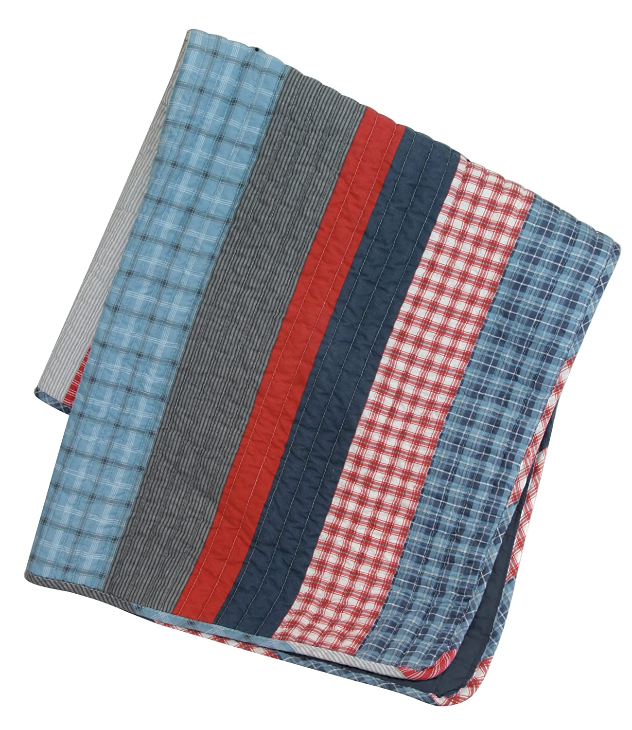 Stephan Baby Stars and Stripes Collection Crib Quilt White and Blue Plaids Red