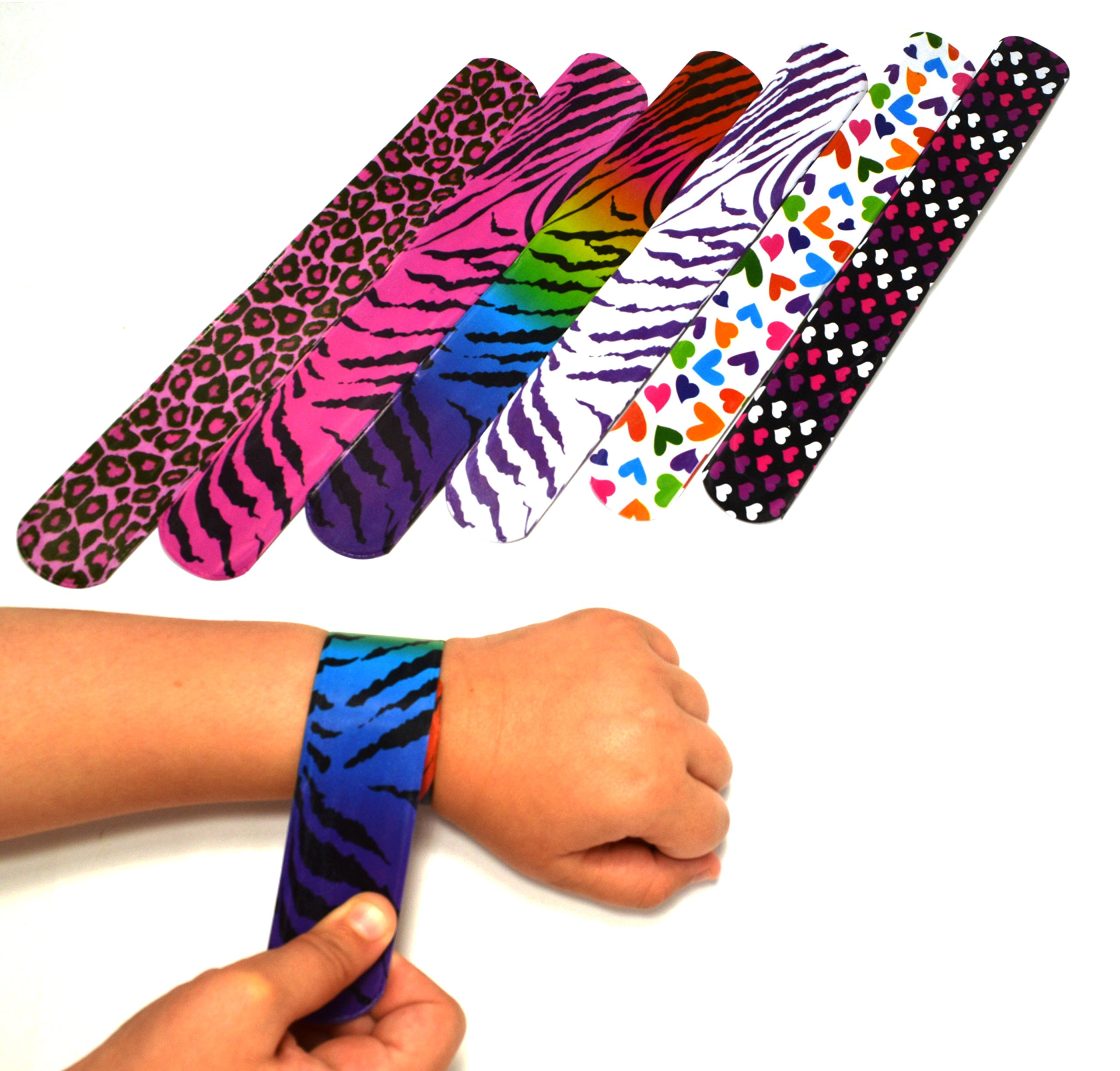 dazzling toys 50 Mega Pack Slap Bracelets | 80' Accessory Slap Bands Birthday Party Supplies Favors with Hearts & Animal Print | One Size Fits All by dazzling toys