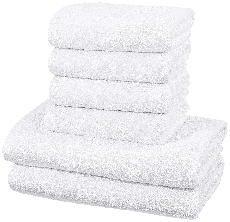 AmazonBasics - Juego de 6 toallas de secado rápido, 2 toallas de baño y 4 toallas de mano - Blanco: Amazon.es: Hogar