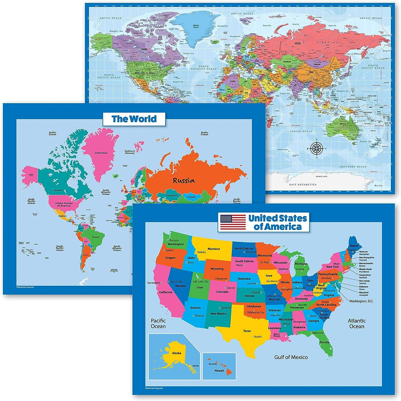 20 Pack   USA World Map for Kids + Blue Ocean Poster