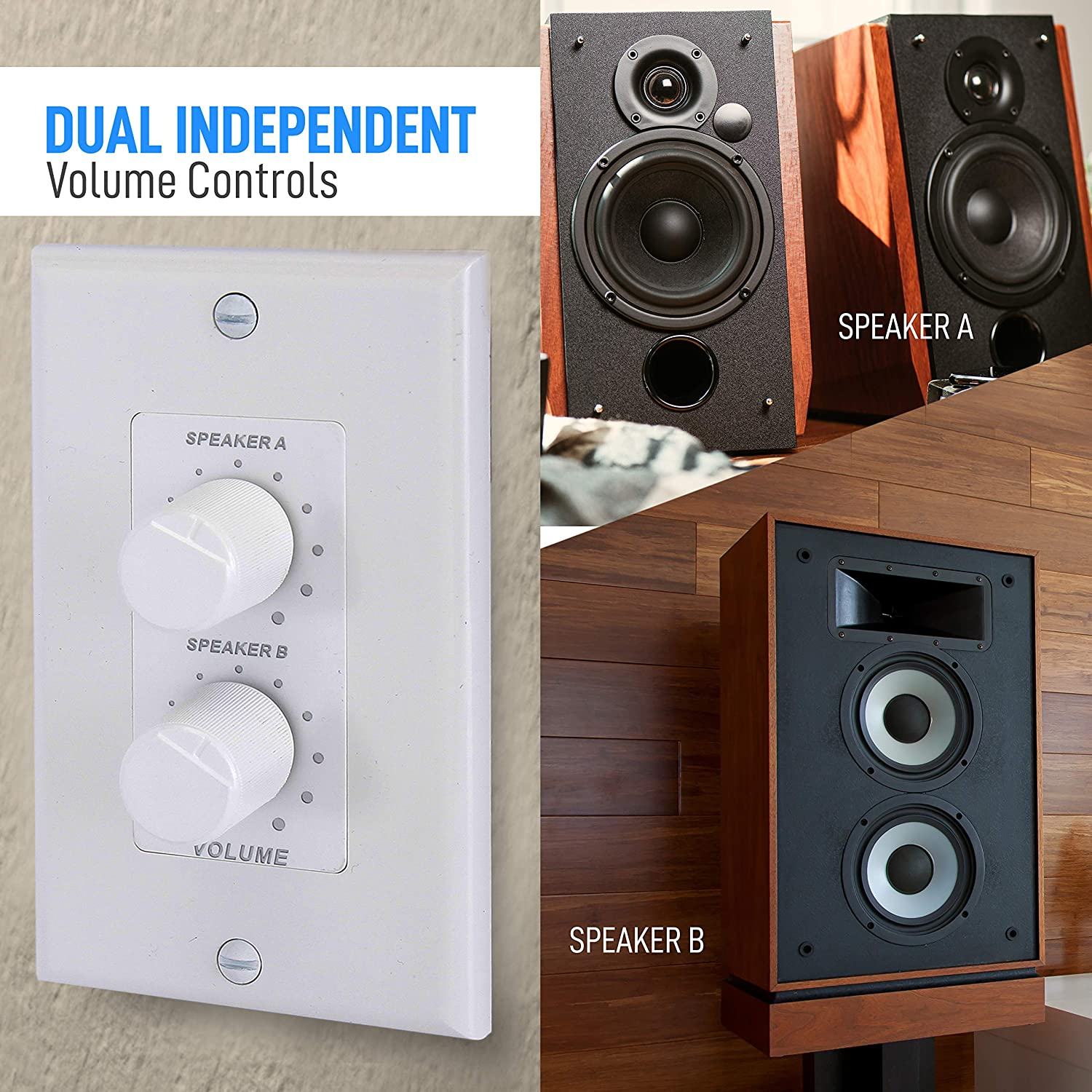 2 Home Audio Smart 2-Channel A//B Dual Channel Speakers Controller Selector Pod Box In Wall Speaker Volume Control Pair of Indoor or Outdoor Speakers Rotary Knob Fader Control Up to Pyle PVCD15