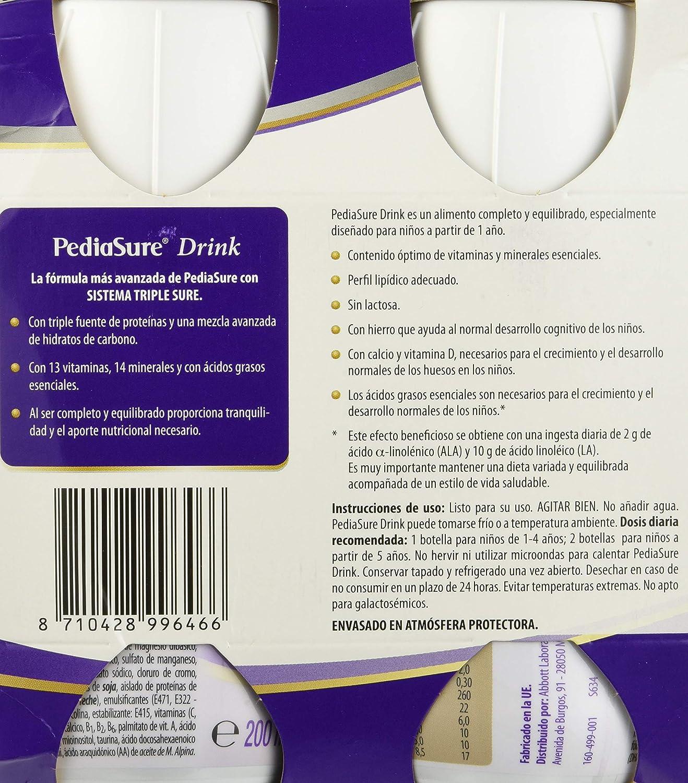 PediaSure - Complemento Alimenticio para Niños con Proteínas, Vitaminas y Minerales, Sabor Vainilla - 4 x 200 ml [versión antigua]