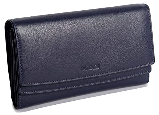 e54a2da6115e SADDLER Genuine Leather Clutch Wallet for Women - Large Capacity Accordion  Purse Organizer with Credit Card Holder & ID Window