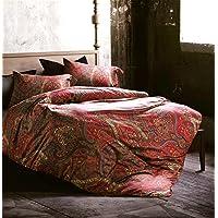 (King, Spanish Red) - Boho Paisley Print Luxury Duvet Quilt Cover and Shams 3pc Bedding Set Bohemian Damask Medallion…