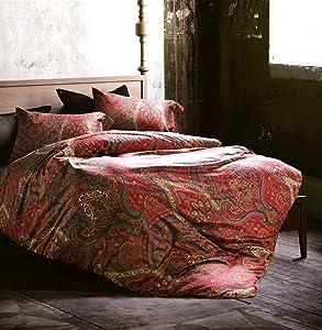 Boho Paisley Print Luxury Duvet Quilt Cover and Shams 3pc Bedding Set Bohemian Damask Medallion 350TC Egyptian Cotton Sateen (Queen, Spanish Red)
