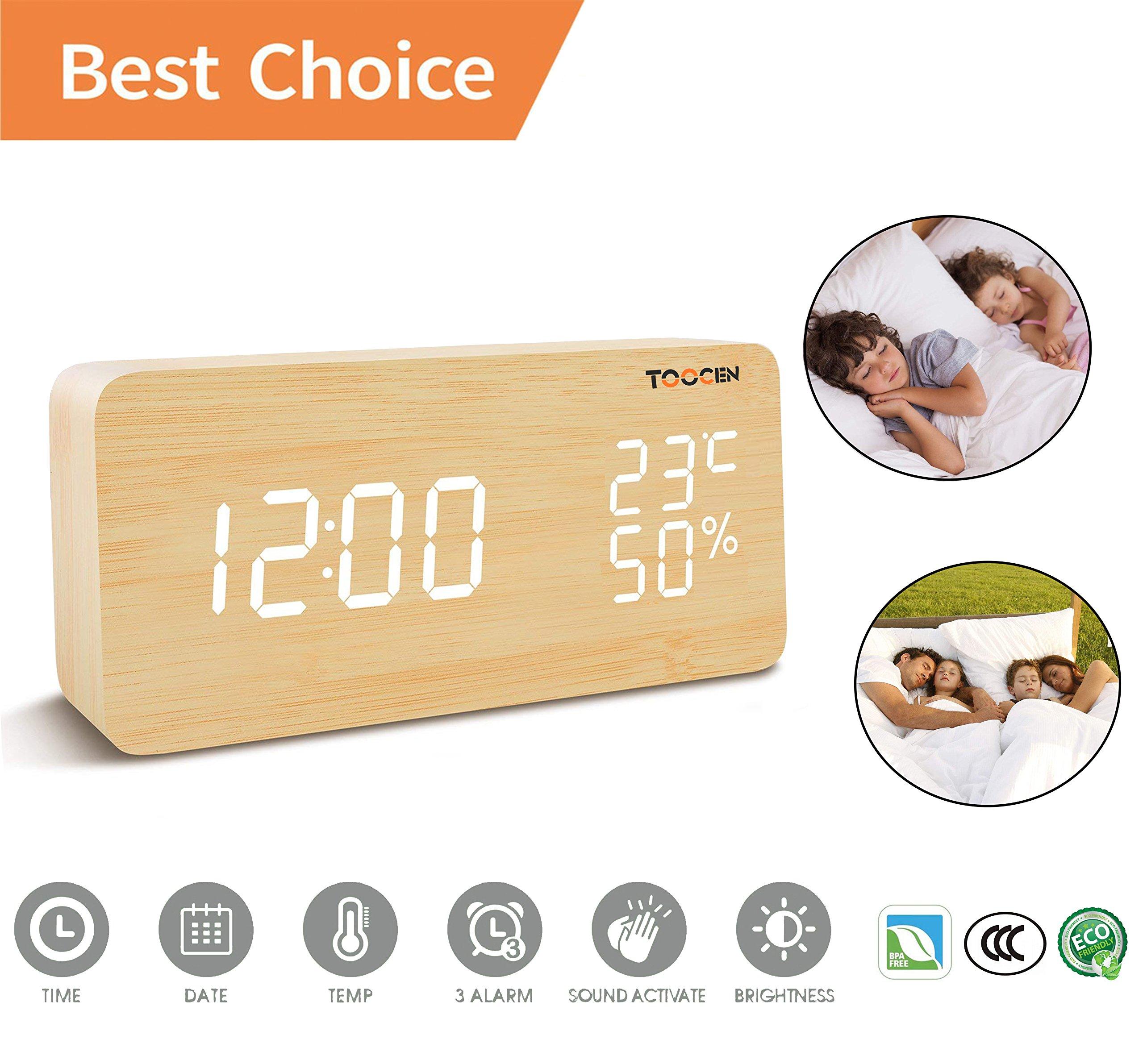 Alarm clock-Wood LED Digital Smart Alarm Clock - Voice Control Digital Alarm Clock - 3 Alarm Groups - 3 Brightness Levels - Display Time, Temperature, Humidity - Suitable For Home, Livingroom, Bedroom