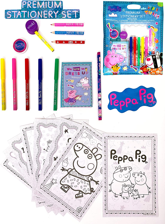 Dedimi Peppa Pig Premium Stationery Set 1 Notepad 1 sharpener 1 eraser 8 colouring in sheets 5 felt tips 4 colouring pencils 1 pencil Kids stationery set for children boys and girls