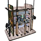 Rush Creek Creations 14 Fishing Rod Rack with 4 Utility Box Storage Capacity & Dual Rod Clips - Features a Sleek Design & Wire Racking System