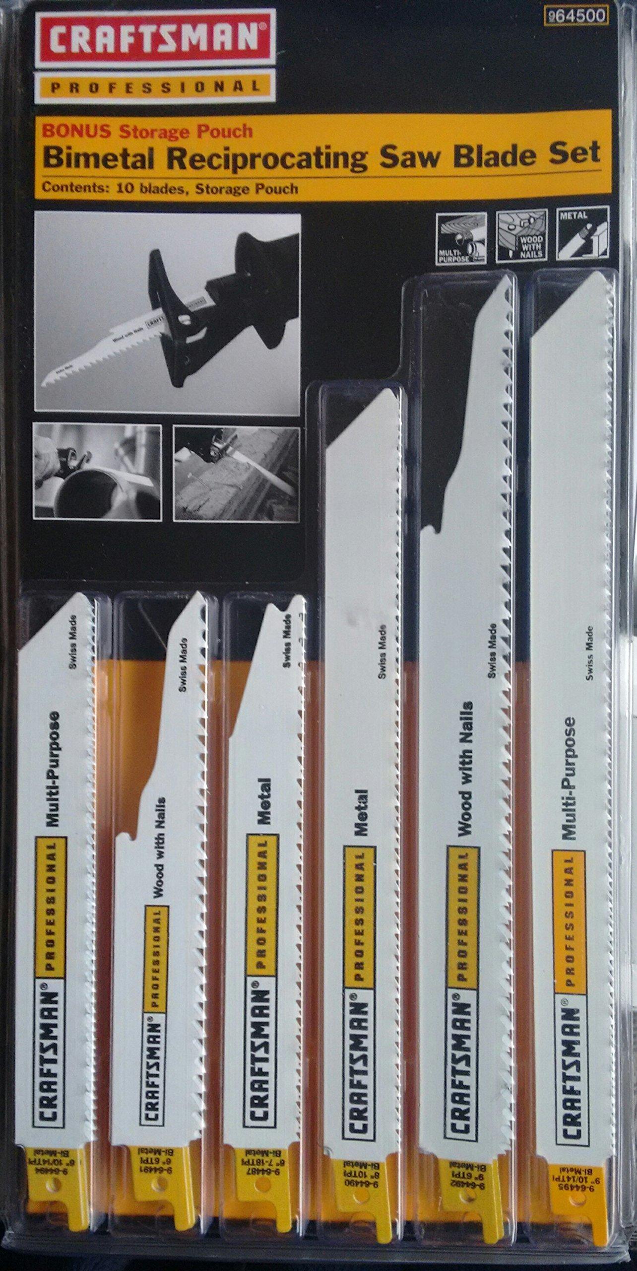 Craftsman Professional Bi-Metal Reciprocating Saw Blade Set 9-64500, Multi-Purpose - 10 pack, Made in Switzerland