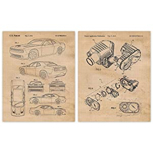 Vintage Dodge Challenger Hellcat & Air Induction Patent Poster Prints, Set of 2 (8x10) Unframed Photos, Wall Art Decor Gifts Under 20 for Home, Office, Shop, Man Cave, MOPAR Muscle Cars & Coffee Fan