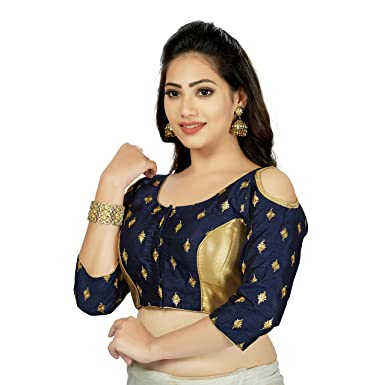 9c603c475140e Amazon.com  TrendyFashionMall Women s Trendy Long Sleeve Cold Shoulder Silk  Saree Gold Blouse Collection  Clothing