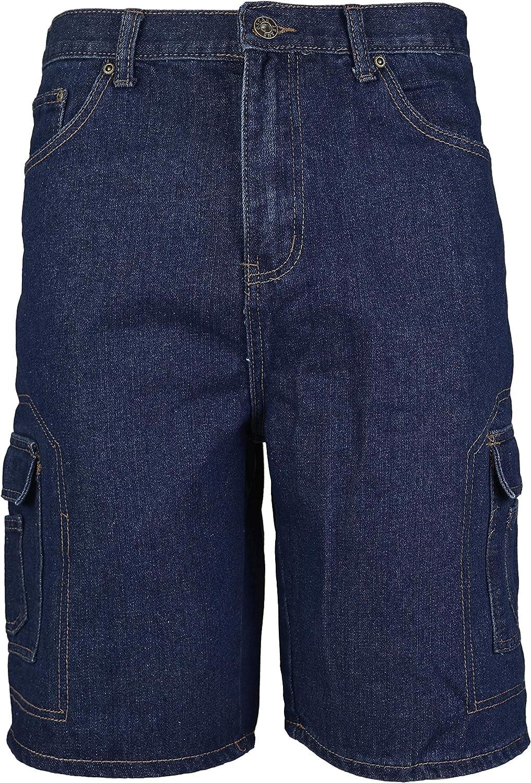 36W, Blue Indigo vkwear Mens Cotton Stonewash Cargo Pocket Denim Jean Shorts