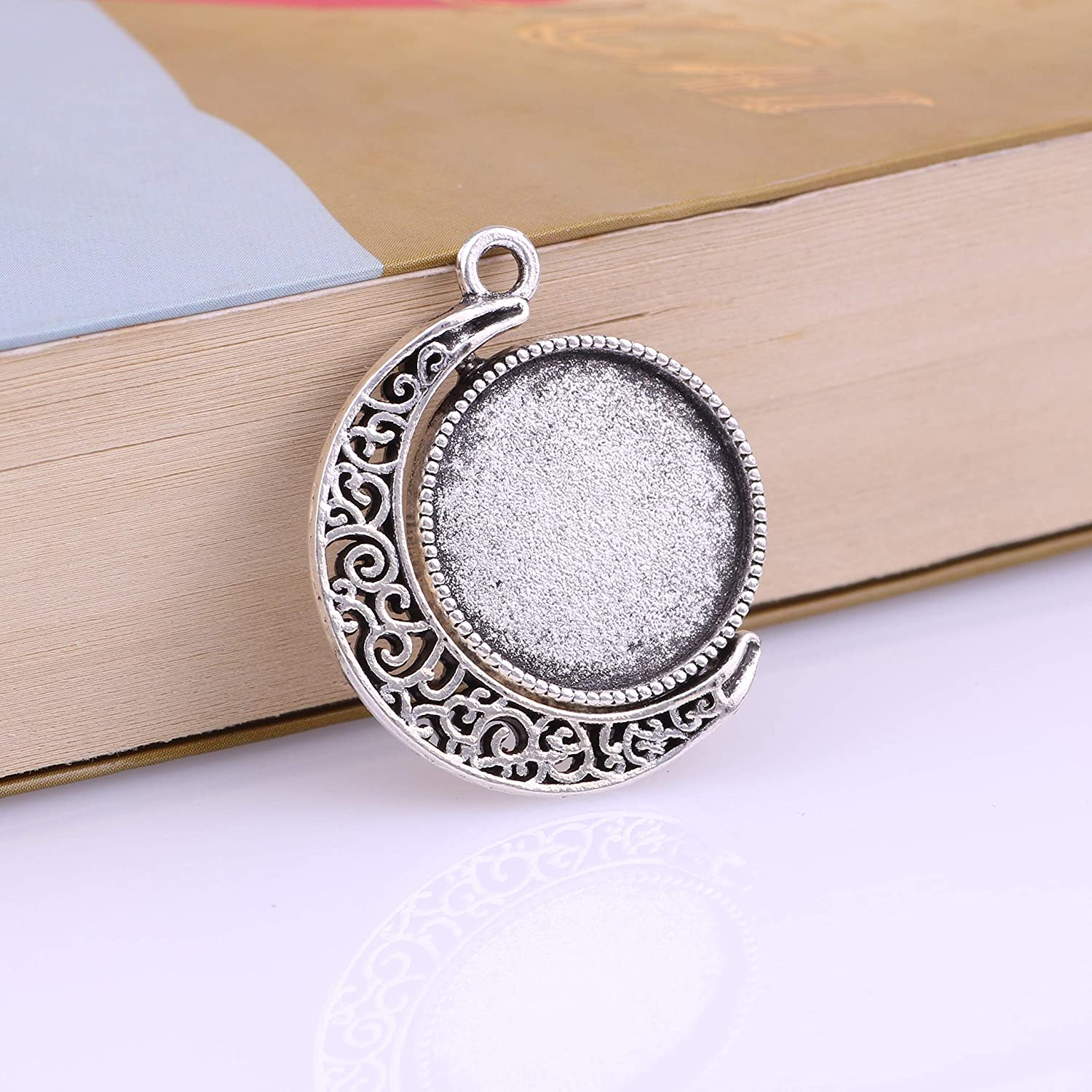 11473-25mm 15pcs 25mm Antique Silver Moon Round Pendant Rotation Trays Cameo Setting Cabochon Dome for Crafting DIY Jewelry Making