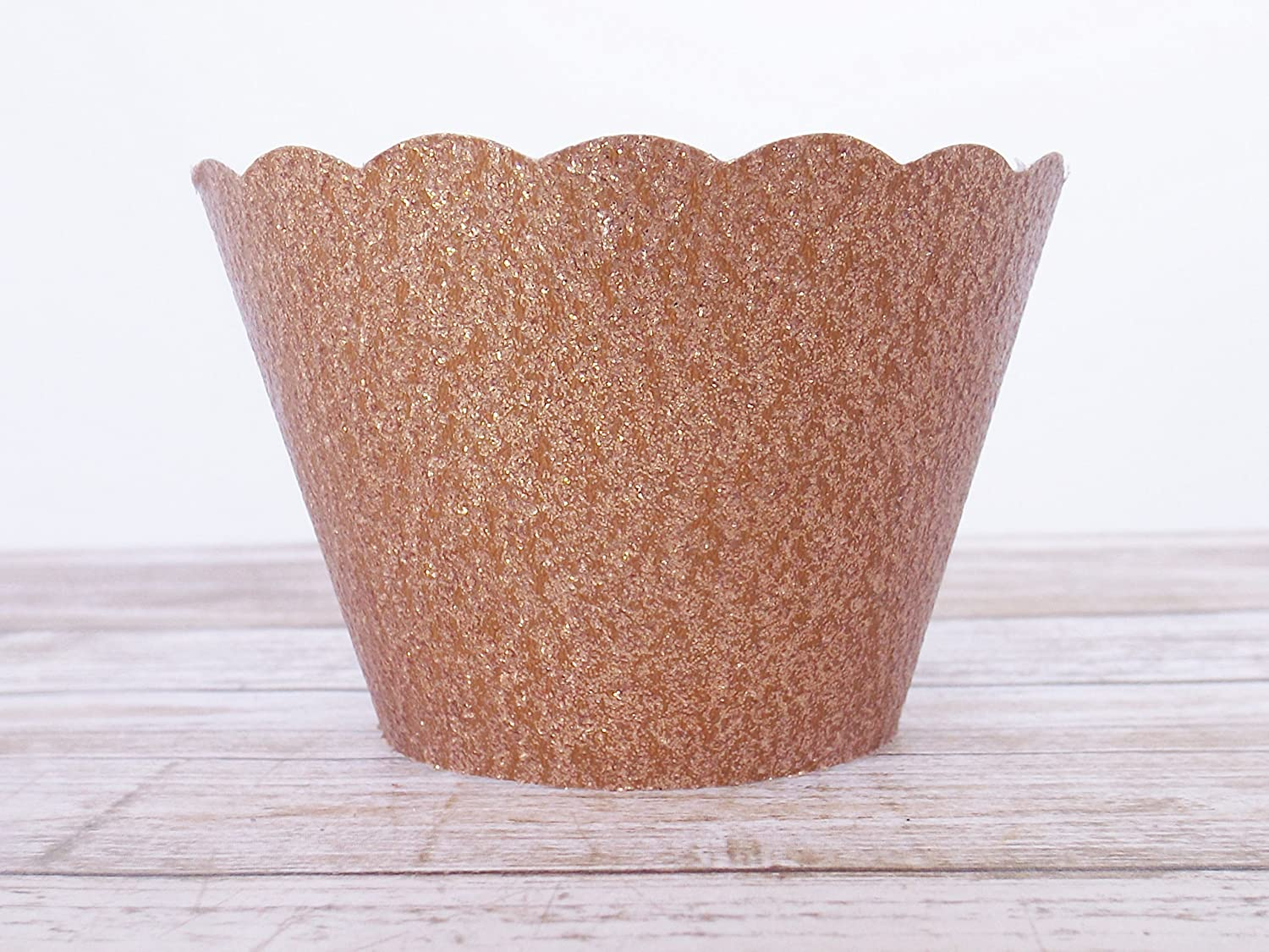 Rose Gold Metallic Glitter Cupcake Wrappers Set of 12 Standard and Mini Sized Holders