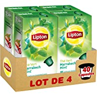 Lipton Thé Vert Marrakech Menthe Label Rainforest Alliance 40 Capsules Compatibles Nespresso (Lot de 4x10 Capsules)
