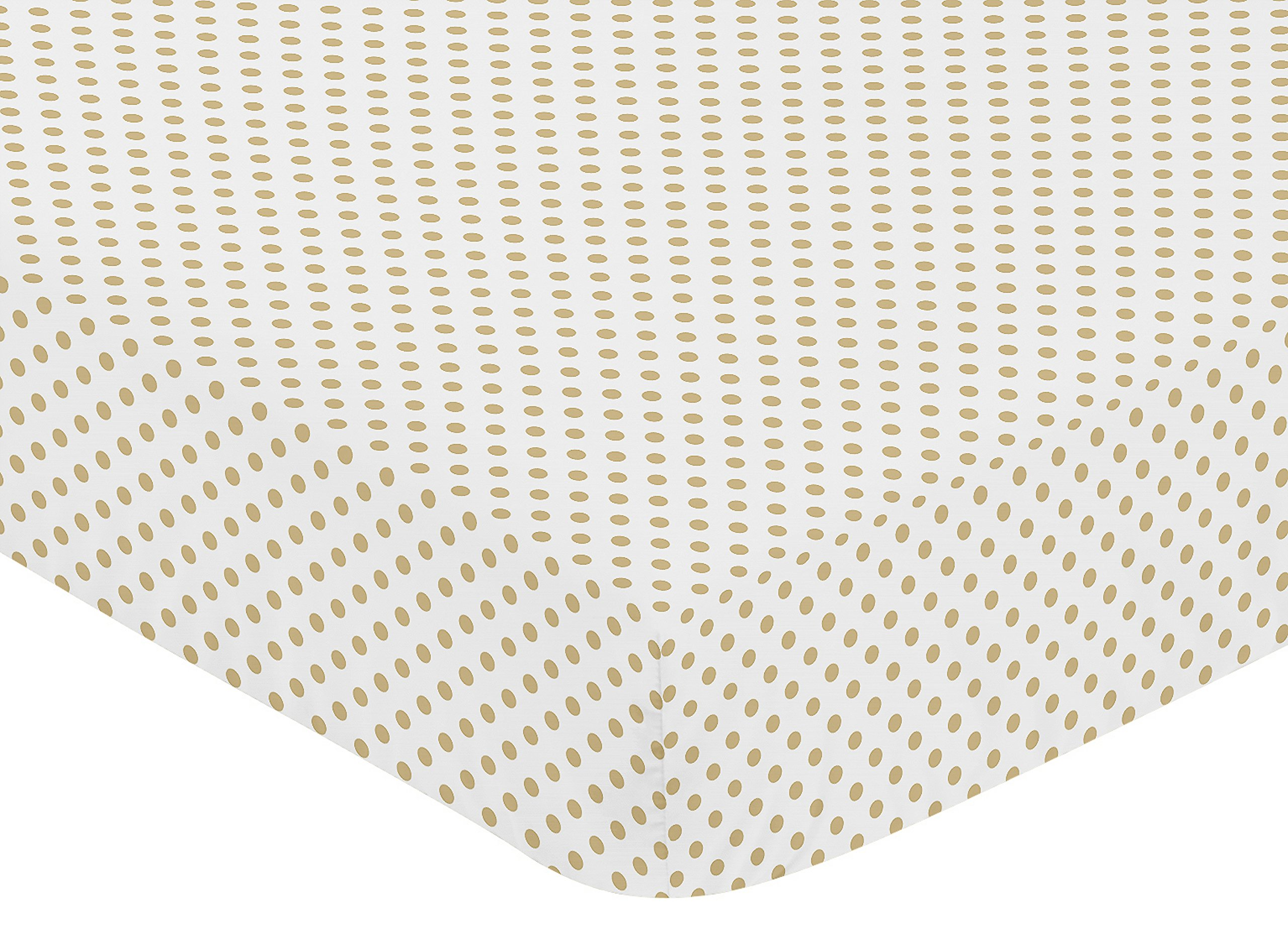 Sweet JoJo Designs Gold and White Polka Dot Baby Or Toddler Fitted Crib Sheet for Watercolor Floral Collection