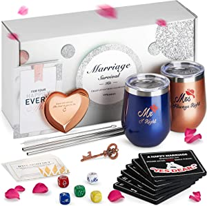 Unique Engagement Gifts for Couples, The Marriage Survival Kit | Best Bridal Shower Gifts for Bride, Wedding Gifts for The Couple, for Her | Free Ring Dish, Coasters, Bottle Opener
