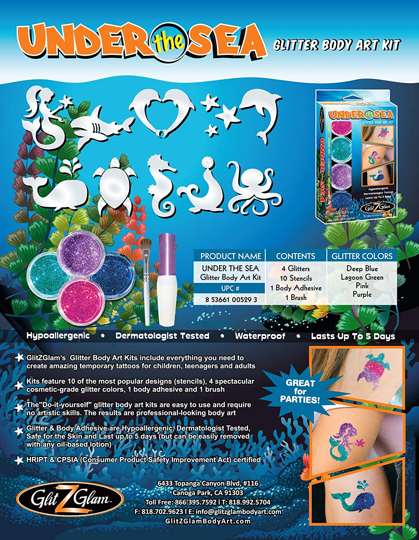 GlitZGlam Kit de Tatuajes de Purpurina Bajo el Mar - Tatuajes ...