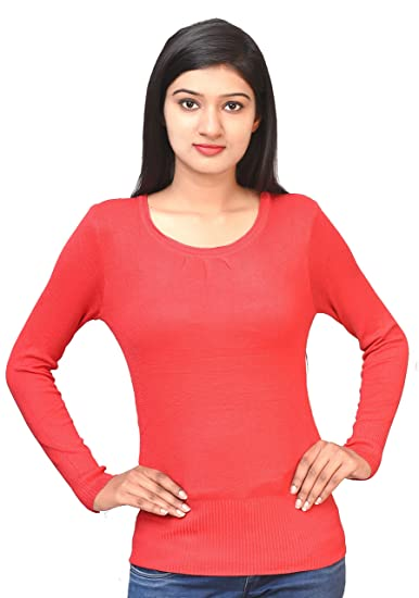 900f01fdc6f Otia Woolen Blouse - Full Sleeves Ladies Winter Sweater Blouses for Saree    Western Wear - Women n Girls Free Size Red Party Thermal Top for Jeans  (Red)  ...