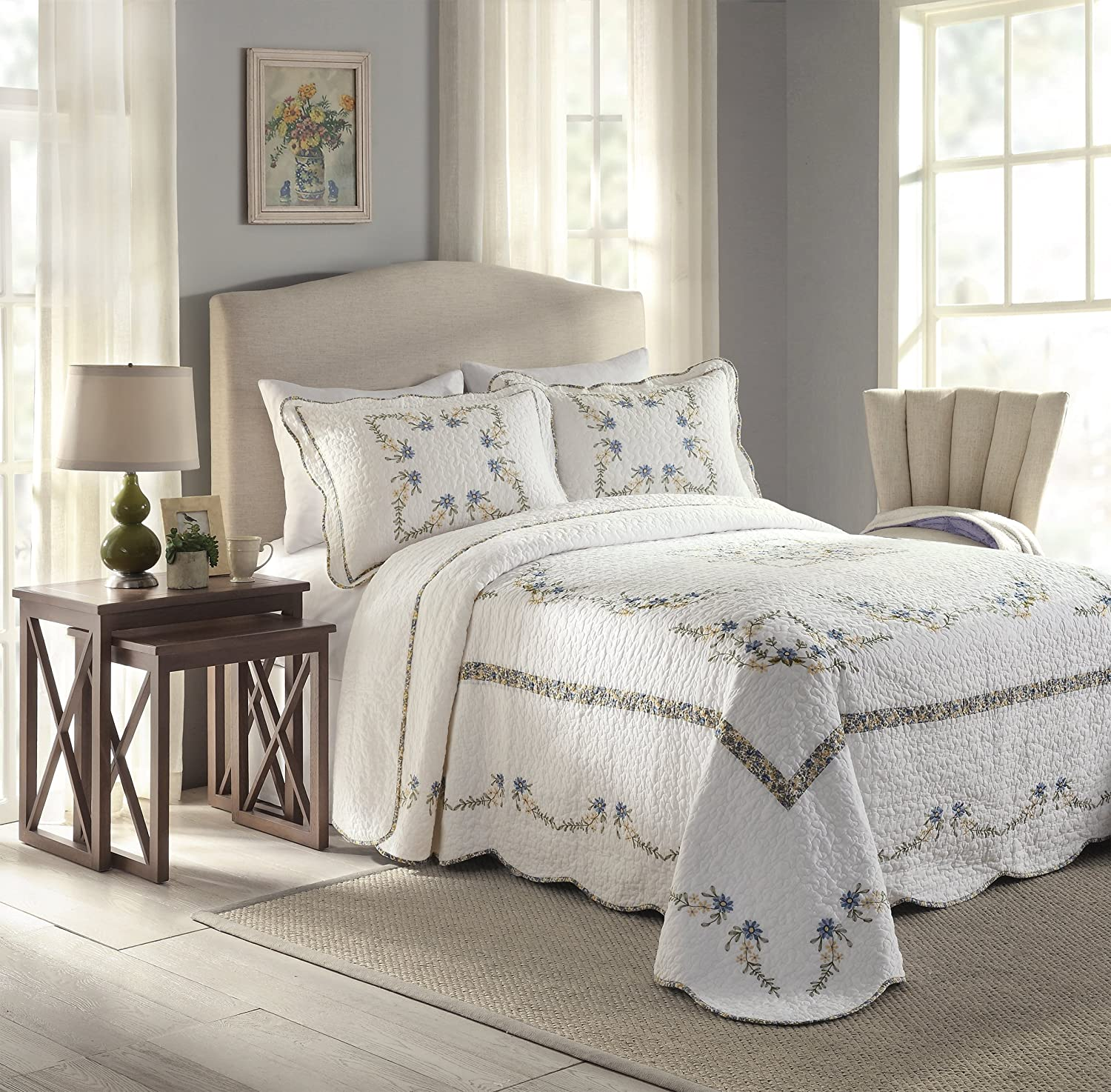 Heather Cotton Filled Bedspread, Queen