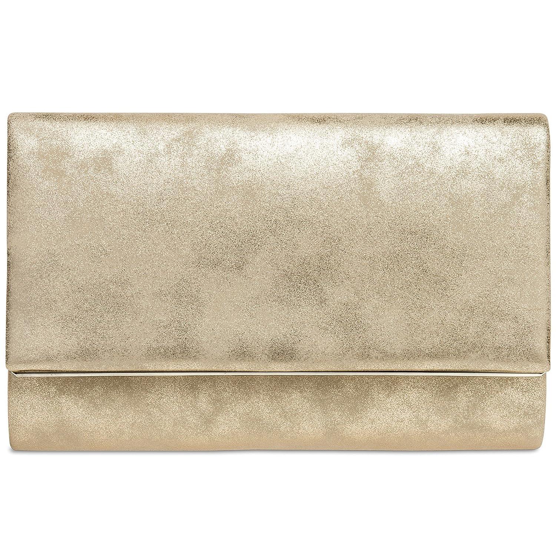 CASPAR TA381 Damen elegante Envelope Clutch Tasche / Abendtasche mit langer Kette 4251085293948